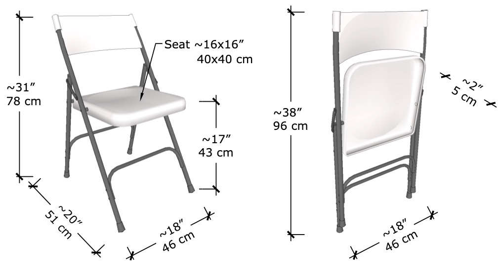 Typical standard dimensions of folding chair both open and folded